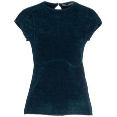 Oblique Jumper ($120) ❤ liked on Polyvore featuring tops, sweaters, deep jade, jumper top, short sleeve tops, blue sweater, short sleeve sweater and blue jumper