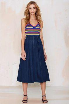 Vintage Calvin Klein Donna Denim Skirt - Bottoms