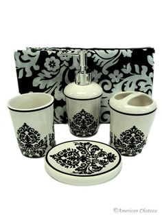 5pc Black White Damask Bathroom Set This Is What My Done In