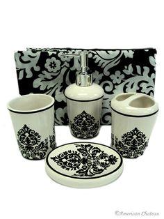 5pc Black U0026 White Damask Bathroom Set Damask Bathroom, Bathroom Sets,  Bathroom Accessories Sets
