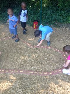 PIL's outdoor car track!  All you need is the bricks and some little cars.  Keeps children busy for hours!