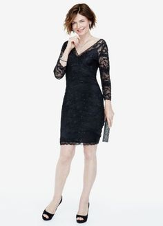 3/4 Sleeve Beaded Stretch Lace Dress  269429