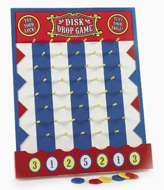 Add this fantastic Disk Drop Game to your carnival booths to pack your circus with so much fun you could drop! To score points, just place a disk flat on the . Carnival Party Supplies, Carnival Booths, Carnival Games For Kids, Fall Carnival, School Carnival, Carnival Birthday Parties, Circus Birthday, Birthday Party Games, Circus Theme