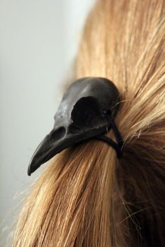 Black Raven Skull Hair Tie - Pony Tail Holder -Bird Crow
