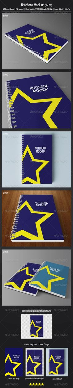 Notebook Mockup (Vol.02) — Photoshop PSD #exercise book #scratch pad • Available here → https://graphicriver.net/item/notebook-mockup-vol02/3524004?ref=pxcr