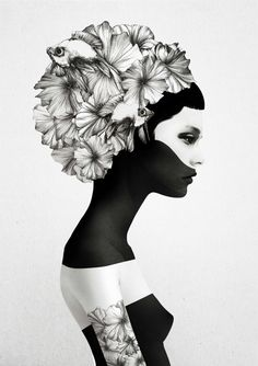 10 amazing t-shirts: black and white feminine portraits from the surreal universe of Ruben Ireland - fancy-tshirts.com