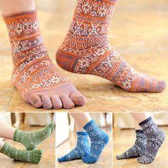Fashion Mens 1 Pair of Five Finger Toes Retro Color Socks 9UK