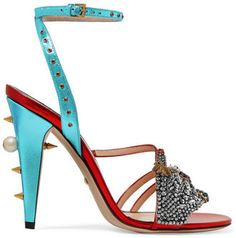 Gucci - Embellished Metallic Leather Sandals - Red - $1,890.00