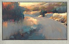 Sunset Road by Nathan Fowkes painted with watercolor and gouache. Beautiful lighting