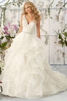 2016 Wedding Dresses V-Neck Ball Gown Organza With Beading And Sash US$ 289.99 VUPJ9FH3ES - VoguePromDressesUK