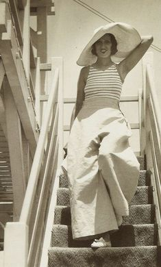Renée Perle - 1930 - Palm Beach, Cannes, France - Beach 'lounge' pyjamas - Photo by Jacques-Henri Lartigue (French, 1894-1986) - @~ Watsonette
