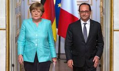 Chancellor Angela Merkel and President François Hollande after a crisis meeting in Paris.Heads of governments at odds as Germany and European commission let Greece stew while France, Italy and Spain are impatient for a deal