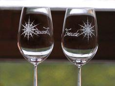 Weingläser mit Kristall #Freude, sandgestrahlt