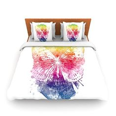 """Kess InHouse Frederic Levy-Hadida """"Butterfly Skull"""" Rainbow Queen Fleece Duvet Cover, 88 by 88-Inch"""
