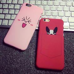 Милый симпатичный розовый emoji лицо красное карманные собаки пк твердый переплет чехол пластиковый чехол для iphone 6 6 splus 6 s 6 плюс бесплатная доставка купить на AliExpress