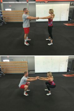 Holding hands for balance, stand facing each other approximately 3 feet apart. Keeping your weight in your heels, lower your hips down and backward into a squat (don't let go of each other!). Immediately push through your heels back to standing. Repeat for 20 seconds, then rest for 10 seconds. Do 6 sets.