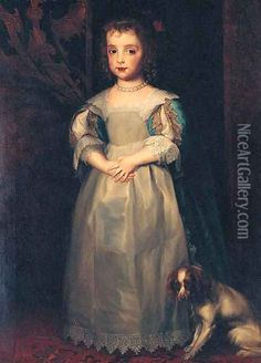 Portrait of Princess Mary, full-length, in a blue and white dress and pearl necklace, a King Charles spaniel at her feet Oil Painting - Sir Anthony Van Dyck