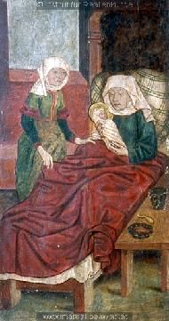 Geburt Mariens c. Medieval Bed, Medieval Life, Renaissance, Medieval Paintings, Holy Roman Empire, Medieval Manuscript, Blue Pillows, 15th Century, Kirchen