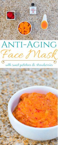 Strawberry & Sweet Potato Homemade Anti Aging Face Mask ⋆ Homemade for Elle Face Scrub Homemade, Homemade Face Masks, Homemade Skin Care, Haut Routine, Spa Tag, Anti Aging Face Mask, Skin Care Regimen, Sweet Potato, Strawberry