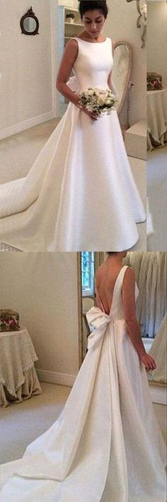 White satins round neck bowknot backless train wedding dress, handmade dresses