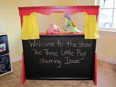 Love this! Tutorial on How to Make a Puppet Theater from an old wooden hutch.