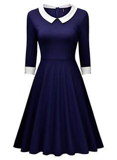 Miusol Women's Vintage Polo Neck 2/3 Sleeve 1920s Evening Swing Dress 2XL, Navy Blue