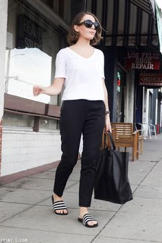 T by Alexander Wang tshirt The Kooples trousers Adidas Slides Outfit, Effortlessly Chic Outfits, Looks Plus Size, Casual Skirt Outfits, Minimal Fashion, Ladies Dress Design, Fashion Outfits, Womens Fashion, Lounge Wear