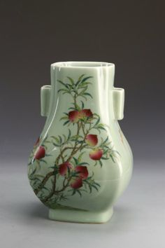 Chinese Glazed Vase With Famille Rose with Qianlong mark, dimensions 11 3/4 In.