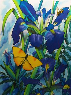 """""""The Bee and the Butterfly"""", 24 x 18 inches, silk painting by Pamela Glose.  Visit her blog for free video tips on silk painting; www.MySilkArt.com"""