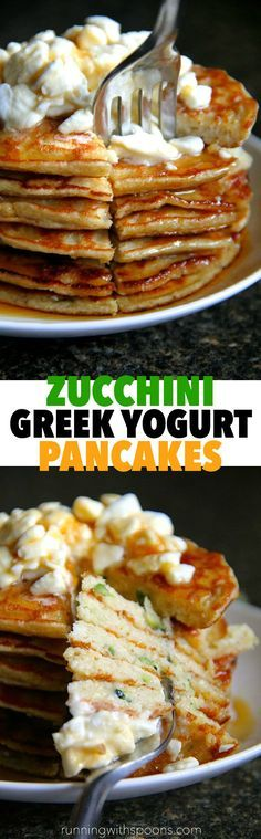Zucchini Greek Yogurt Pancakes -- light, fluffy, and gluten-free, enjoy the ENTIRE recipe for under 300 calories and 20g of protein! || runningwithspoons.com #pancakes #breakfast
