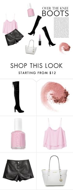 """Pink- Over-The-Knee Boots"" by discolour ❤ liked on Polyvore featuring Oris, Stuart Weitzman, NARS Cosmetics, Essie, MANGO, Michael Kors, MAC Cosmetics and Boots"