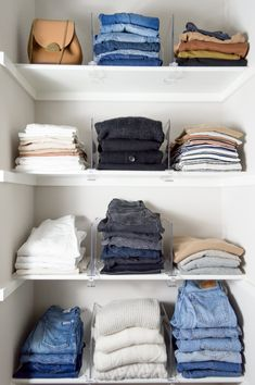 My Master Closet Organization — Girl Meets Gold home decor closet organization ideas, closet ideas - Diy and crafts interests Organizing Walk In Closet, Walk In Closet Small, Wardrobe Organisation, Closet Hacks, Cleaning Closet, Jean Organization, Small Wardrobe, Organizing Ideas, Container Store Closet