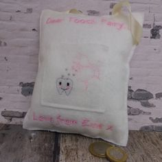 Personalised tooth fairy pillow.
