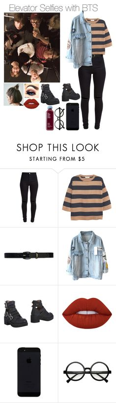 """《Elevator Selfies with BTS》"" by mh-loves1d ❤ liked on Polyvore featuring New Look, MANGO, Lauren Ralph Lauren, Jeffrey Campbell, Ultimate and Lime Crime"