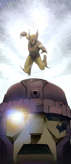 Wolverine vs Sentinel by Miguel Zuppo