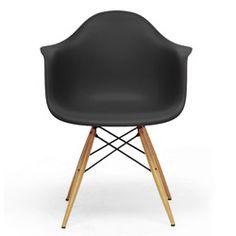 Pascal Black Plastic Mid-Century Modern Shell Chair (Set of 2)