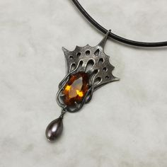 Art Nouveau citrine oxidized silver pendant necklace by (C) KAZNESQ
