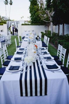 navy blue and white striped tablecloth table runner Cotton stripped wedding tablecloth nautical black and white beach wedding decor by FantasyFabricDesigns on Etsy Table Nautique, Palm Springs, Mantel Azul, Wedding Tablecloths, Striped Table Runner, Wedding Decorations, Table Decorations, Wedding Centerpieces, Nautical Table Centerpieces