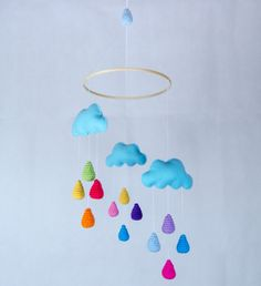 New Clouds and Colorful Rain Drops Mobile - Baby Mobile - Nursery Mobile - Crochet Mobile - Nursery Decor - Custom Colors via Etsy