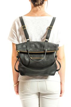 3-in-1 Leather Backpack Laptop Bag Convertible by ARTandJILL