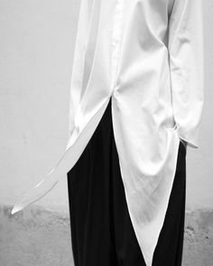 Crisp White Shirt - Womens Chic Office Style Business Meeting Fashion - love the slit winged front   #karinarussianpowpow