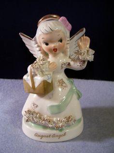 Vintage Napco AUGUST Birthday Girl Angel Figurine, my sisters birthstone