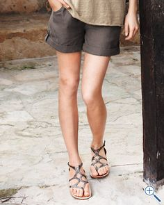 Relaxed Linen Drawstring Shorts  like the sandals