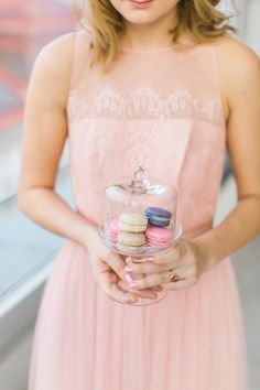 pink party dress colorful macarons mini glass cake stand | PHOTOGRAPHY Karl Bluemel Photography