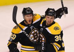 Boston-11/02/17- Boston Bruins vs Golden Knights- Bruins Riley Nash(left) is congratulated by Bruins Matt Beleskey after Nash's 2nd period goal to put the Bruins ahead, 1-0. (sports)