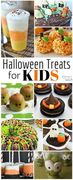 These Halloween Treats for Kids look like SOO much fun! Who says I have to wait till Halloween? These halloween treats for kids look like SOO much fun! Who says I have to wait till Halloween! Halloween Desserts, Postres Halloween, Hallowen Food, Hallowen Ideas, Halloween Treats For Kids, Halloween Goodies, Halloween Food For Party, Fall Halloween, Fall Party Treats For Kids