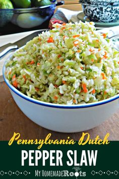 Pennsylvania Dutch Pepper Slaw, also called Pennsylvania Dutch Pepper Cabbage, is a mayo-less sweet and sour slaw that is combination of crunchy shredded cabbage and green bell peppers. Try it as a side dish for a picnic, potluck, or backyard BBQ. Slaw Recipes, Cabbage Recipes, Veggie Recipes, Whole Food Recipes, Cooking Recipes, Picnic Recipes, Picnic Ideas, Picnic Foods, Keto Recipes