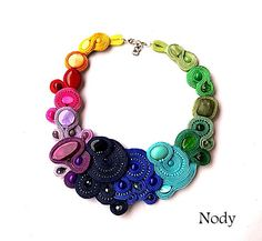 Rainbow gemstone necklace Bright Colorful Bib Necklace