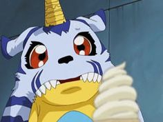 All of us know that Gabumon can't resist ice cream!