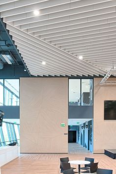 OPTIMA - Mineral fiber acoustic baffle / ceiling / rectangular / decorative by Armstrong ceilings - Europe Baffle Ceiling, Acoustic Baffles, Exterior Wall Cladding, Office Ceiling, Open Space Office, Acoustic Design, Bar Plans, Interior Architecture, Interior Design